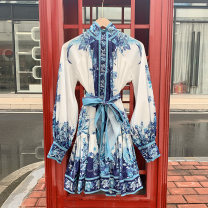 Dress Summer 2020 Sea sky blue S,M,L Middle-skirt singleton  Long sleeves Sweet stand collar High waist Decor Single breasted Big swing bishop sleeve Others 25-29 years old Type A the post-00s generation More than 95% other other Bohemia