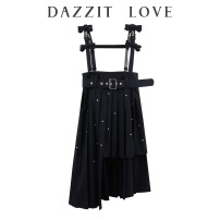 skirt Spring 2021 XS=155,S=160,M=165 black Mid length dress commute High waist Pleated skirt Solid color Type A 81% (inclusive) - 90% (inclusive) Yundisu polyester fiber Pleats, lace, beads, straps, buttons