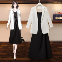 Women's large Spring 2021 Black suit with black drawstring dress, white suit with black drawstring dress, black drawstring dress, white suit, black suit Dress Two piece set commute easy moderate Cardigan Long sleeves Solid color Korean version Half open collar routine routine Other / other pocket