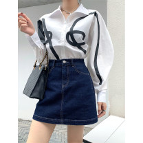 skirt Summer 2021 S,M,L,XL navy blue Short skirt Versatile High waist A-line skirt Solid color Type A 18-24 years old 91% (inclusive) - 95% (inclusive) Denim TTH WAWA cotton Button, thread decoration 251g / m ^ 2 (including) - 300g / m ^ 2 (including)