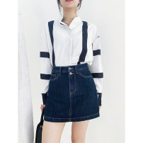 skirt Spring 2021 S,M,L,XL Blue, black Short skirt Versatile High waist A-line skirt Solid color Type A 18-24 years old More than 95% Denim TTH WAWA cotton Letter embroidery 251g / m ^ 2 (including) - 300g / m ^ 2 (including)