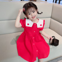 Dress gules female Other / other 90cm,100cm,110cm,120cm,130cm Cotton 90% polyurethane elastic fiber (spandex) 10% summer Korean version Short sleeve Solid color cotton A-line skirt 12 months, 18 months, 2 years old, 3 years old, 4 years old, 5 years old, 6 years old, 7 years old, 8 years old