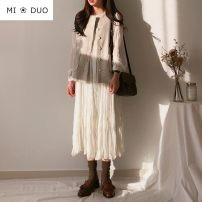 Dress Winter of 2019 White plush S,M,L,XL longuette singleton  Long sleeves commute Crew neck middle-waisted Solid color A button A-line skirt routine Others 18-24 years old Type A Other / other Korean version Pleat, pleat 8257-1 31% (inclusive) - 50% (inclusive) Chiffon other