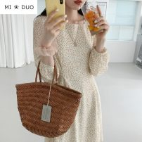 Dress Autumn 2020 Apricot S,M,L,XL Short skirt singleton  Long sleeves commute square neck High waist Broken flowers zipper A-line skirt puff sleeve Others 18-24 years old Type A Korean version bow 71% (inclusive) - 80% (inclusive) Chiffon