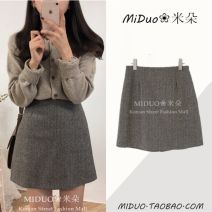 skirt Winter of 2018 S,M,L,XL Brown, grey Short skirt commute High waist A-line skirt other Type A 18-24 years old 6089# 30% and below Wool Other / other other Stitching, zippers, buttons Korean version