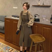 Dress Spring 2021 Coffee skirt + shirt two-piece set, black skirt + shirt two-piece set S. XL, m 105 Jin, l 125 Jin Mid length dress Two piece set Long sleeves routine Solid color