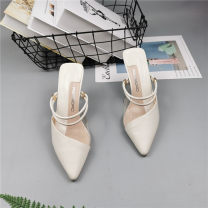 Sandals 36,37,38 Beige 0108, white 0108 Superfine fiber Other / other Baotou cone  High heel (5-8cm) Summer 2020 Trochanter Solid color Adhesive shoes rubber Back space Low Gang Hollow PU Flat buckle