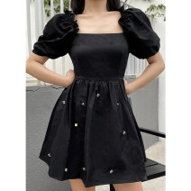 Dress Summer 2021 black S, M Short skirt singleton  Short sleeve commute square neck middle-waisted Solid color Socket A-line skirt puff sleeve Others Type X lady Ruffle, open back, zipper 31% (inclusive) - 50% (inclusive) nylon