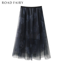 skirt Summer 2021 Mid length dress High waist commute A-line skirt Cartoon animation Type A 25-29 years old More than 95% other Yayin other Mesh, zipper, printing Korean version XS,S,M black