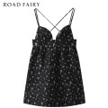 Dress Summer 2021 black XS,S,M Short skirt singleton  Sleeveless commute other High waist Cartoon animation Socket A-line skirt routine camisole 25-29 years old Type A Yididisin Retro Bright silk, zipper, printing, jacquard 31% (inclusive) - 50% (inclusive) other other
