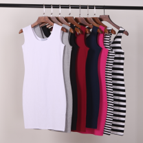 Dress Summer of 2019 White, gray, black, Burgundy, navy Short skirt singleton  Sleeveless commute Crew neck middle-waisted Solid color Socket One pace skirt other camisole 25-29 years old Type X Show shirt Korean version YS300 91% (inclusive) - 95% (inclusive) brocade cotton