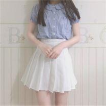 skirt Summer 2021 XS,S,M,L,XL,2XL,3XL White, black, gray, navy Short skirt commute High waist A-line skirt Solid color Type A 18-24 years old 81% (inclusive) - 90% (inclusive) polyester fiber Fold, button, zipper Korean version
