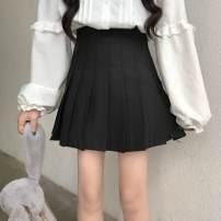 skirt Autumn 2020 XS,S,M,L,XL,2XL,3XL White, black, gray, navy Short skirt commute High waist Pleated skirt Solid color Type A 18-24 years old Fold, button, zipper Korean version
