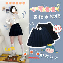 skirt Spring 2020 S. M, l, single layer without lining Black, gray, navy Short skirt Sweet High waist Pleated skirt Solid color Type H 91% (inclusive) - 95% (inclusive) Other / other polyester fiber fold solar system