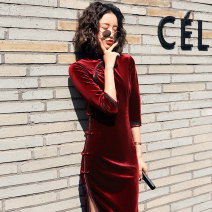 cheongsam Winter of 2019 S M L XL XXL Long sleeves long cheongsam Retro High slit banquet Solid color 18-25 years old Piping Lotus love other Other 100%