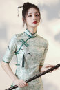 cheongsam Autumn 2020 S M L XL XXL other Short cheongsam Retro Low slit daily Oblique lapel other 18-25 years old Piping Lotus love other Other 100% Pure e-commerce (online only) 96% and above
