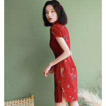 cheongsam Summer of 2019 S M L XL XXL Jujube red Short sleeve Short cheongsam Retro High slit banquet Oblique lapel other 18-25 years old Piping Lotus love other Other 100% Pure e-commerce (online only)