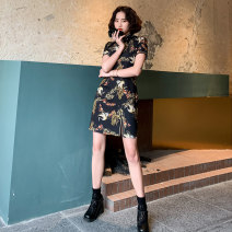 cheongsam Summer 2020 S M L XL XXL White crane Short sleeve Short cheongsam Retro High slit daily Oblique lapel 18-25 years old Piping HLQ20056 Lotus love other Other 100% Pure e-commerce (online only)
