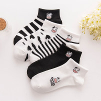 Socks / base socks / silk socks / leg socks female Average size 5 pairs routine Short tube Four seasons Sweet Cartoon animation cotton hygroscopic and sweat releasing jacquard weave