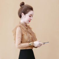 Lace / Chiffon Autumn of 2019 Coffee, white, black [skirt] S,M,L,XL,2XL Long sleeves commute Socket singleton  easy have cash less than that is registered in the accounts Crew neck Solid color routine Other / other Bowknot, fold, fungus, lace, stitching, Sequin, mesh, lace Korean version