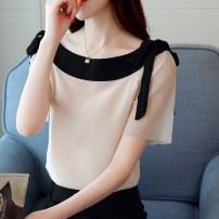 T-shirt White, apricot, red, black [skirt] S,M,L,XL,2XL Summer of 2019 Short sleeve One word collar easy have cash less than that is registered in the accounts puff sleeve commute polyester fiber 96% and above Korean version originality Solid color, stitching