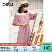 Dress Spring of 2019 red-checkered pattern XS S M L Mid length dress singleton  elbow sleeve commute One word collar Elastic waist lattice Socket A-line skirt puff sleeve Others 25-29 years old Type A Hundred pictures Ol style More than 95% polyester fiber Polyester 100%