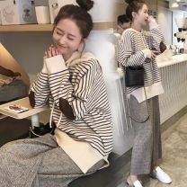 Women's large Autumn 2020 White Striped Top + gray wide leg pants, Purple Striped Top + Black Wide Leg Pants, single white striped top, single Purple Striped Top, single gray wide leg pants, single black wide leg pants Two piece set commute easy moderate Socket Long sleeves stripe Korean version