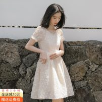 Dress Spring 2021 Apricot, apricot [quality version] S,M,L,XL Middle-skirt singleton  Short sleeve commute square neck High waist Solid color Socket Pleated skirt puff sleeve Others 18-24 years old Type A Other / other Korean version 51% (inclusive) - 70% (inclusive) other cotton