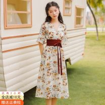 Dress Summer 2021 S,M,L Mid length dress singleton  Short sleeve commute V-neck High waist Decor other A-line skirt routine Others 18-24 years old Type A Other / other Korean version Stitching, strapping, printing 51% (inclusive) - 70% (inclusive) cotton