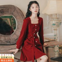 Dress Spring 2021 Black, red, black [Plush], red [Plush] S,M,L,XS Middle-skirt singleton  Long sleeves commute square neck High waist Solid color Single breasted A-line skirt routine Others 18-24 years old Type A Other / other Korean version Button 51% (inclusive) - 70% (inclusive) cotton