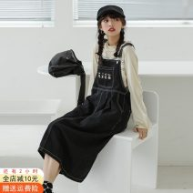 Dress Spring 2021 black S,M,L Mid length dress singleton  Long sleeves commute square neck Loose waist Solid color Socket A-line skirt routine straps 18-24 years old Type A Other / other Korean version Embroidery, pockets, buttons 51% (inclusive) - 70% (inclusive) Denim cotton