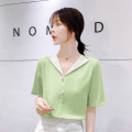 Lace / Chiffon Summer of 2019 Naked powder, Matcha green, shorts S,M,L,XL,2XL Short sleeve Sweet Socket singleton  easy Regular Doll Collar Solid color routine Button college
