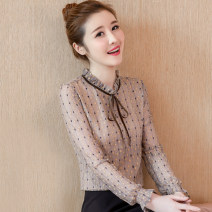 Lace / Chiffon Autumn of 2019 Yellow, black, beige, black [skirt] S,M,L,XL,2XL Long sleeves commute Socket singleton  easy Regular Crew neck Dot routine Bowknot, hollow out, fold, Auricularia auricula, printing, stitching, flocking Korean version 81% (inclusive) - 90% (inclusive)
