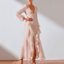 Dress Spring 2021 Long sleeve light apricot, long sleeve brown, long sleeve dark green, sling light apricot, sling brown, sling green S,M,L