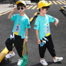 suit Sheep feather products Fluorescent green, sapphire blue, black, white, denim blue 110, 120, 130, 140, 150, 160 male summer Korean version Short sleeve + pants 2 pieces Thin money There are models in the real shooting Socket nothing Solid color cotton children Learning reward TZX-8001 Class B