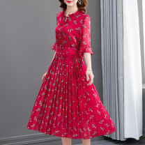 Dress Summer 2021 Jujube red S M L XL 2XL Mid length dress singleton  Long sleeves commute Crew neck middle-waisted Decor Socket A-line skirt routine 30-34 years old Type A Muniissa / munissa Pleated lace up printing A217028 More than 95% Chiffon other Other 100% Pure e-commerce (online only)