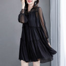 Dress Summer 2021 black S M L XL 2XL longuette Two piece set Long sleeves Crew neck Loose waist Solid color Socket A-line skirt routine 40-49 years old Type A Muniissa / munissa Splicing More than 95% Chiffon other Other 100% Pure e-commerce (online only)