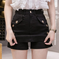 Jeans Spring 2021 shorts High waist Wide legged trousers routine Wash, zipper, button, multi pocket Cotton elastic denim Dark color Real shot 8720 81% (inclusive) - 90% (inclusive) S,M,L,XL,2XL Apricot, white, red, black