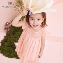 Dress Yrlcj21277a pink orange female Yeehoo / English 100cm,110cm,120cm,130cm Polyester 100% summer leisure time Short sleeve polyester other YRLCJ21277A Class A 2 years old, 3 years old, 4 years old, 5 years old, 6 years old, 7 years old