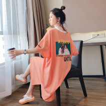 Women's large Summer 2020 Large XL, large XXL, large XXL, large L, large M, collection baby presents Dress singleton  commute easy thin Socket Short sleeve Letters, characters Korean version V-neck cotton printing and dyeing routine 18-24 years old Embroidery 91% (inclusive) - 95% (inclusive) other
