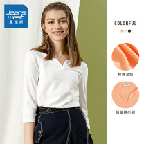T-shirt Light orange 8210m white 8110 black 8010 collection 1 collection 2 Collection 3 Collection 4 collection 5 Collection 6 collection 7 Collection 8 XS S M L XL XXL XXXL Spring 2020 elbow sleeve other Regular routine commute cotton 96% and above 18-24 years old Simplicity other JeansWest