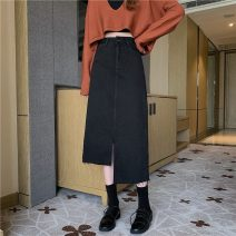 skirt Spring 2021 S,M,L,XL Blue, black Mid length dress Versatile High waist Irregular Solid color Type A 18-24 years old 71% (inclusive) - 80% (inclusive) tassels