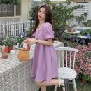 Dress Summer 2021 White, purple, red, black Average size Short skirt singleton  Short sleeve commute square neck High waist Solid color A-line skirt puff sleeve 18-24 years old Type A lady Auricularia auricula, nail beads 31% (inclusive) - 50% (inclusive) other