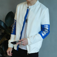 Jacket Gefan Leopard Youth fashion J56 white M L XL XXL XXXL thin Self cultivation Other leisure autumn ZDC32 Polyester 100% Long sleeves Wear out Baseball collar tide youth routine Zipper placket Straight hem No iron treatment Closing sleeve Solid color Summer of 2019 Pure e-commerce (online only)