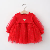 Dress Red, pink, beige female Other / other 73cm,80cm,90cm,100cm Cotton 90% other 10% spring and autumn princess Long sleeves love Netting Fluffy skirt Class A 12 months, 6 months, 9 months, 18 months, 2 years, 3 years, 4 years