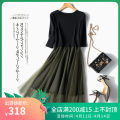 Dress Spring 2021 Black, army green M,L,XL longuette singleton  elbow sleeve commute Crew neck middle-waisted Solid color Socket A-line skirt routine Others Type A Simplicity Stitching, lace 31% (inclusive) - 50% (inclusive) other other