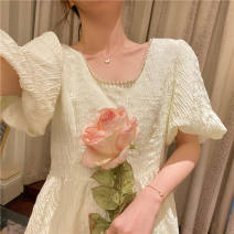 Dress Summer 2021 Apricot S M L XL Miniskirt singleton  Short sleeve commute square neck middle-waisted Solid color Socket other puff sleeve Others 18-24 years old Love orchid Korean version 08116 original quality More than 95% other Other 100% Pure e-commerce (online only)