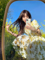 Dress Summer 2021 Yellow flower S M L XL Short skirt singleton  Short sleeve commute square neck middle-waisted Big flower zipper Princess Dress puff sleeve Others 18-24 years old Love orchid Korean version printing More than 95% other Other 100% Pure e-commerce (online only)