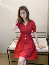 Dress Summer 2021 Red and black S M L XL XXL XXXL XXXXL Mid length dress singleton  Short sleeve commute V-neck High waist Solid color Socket A-line skirt routine Others 18-24 years old Love orchid Korean version Splicing More than 95% other Other 100% Pure e-commerce (online only)