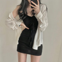 short coat Summer 2021 S M L XL Black dress grey dress white shirt black shirt Long sleeves routine Thin money Two piece set easy Versatile other Single breasted Solid color 25-29 years old Love orchid 96% and above other Other 100% Pure e-commerce (online only)
